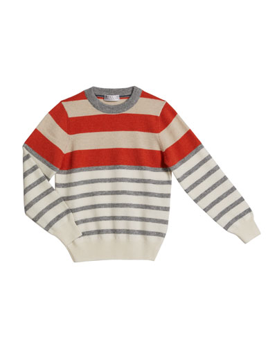 Boy's Cashmere Striped Sweater  Size 8-10
