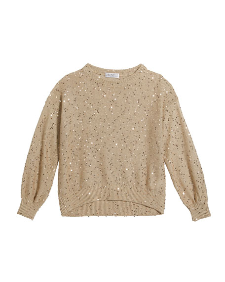 Girl's Button-Front Paillette Knit Sweater, Size 8-10