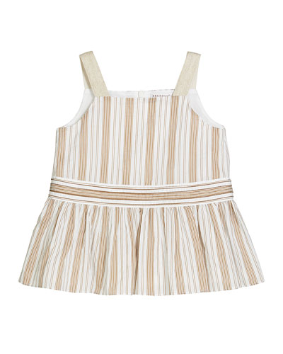 Girl's Striped Sleeveless Ruffle Top  Size 4-6