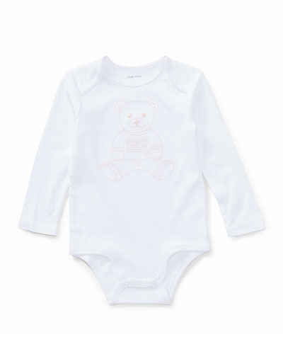 Polo Bear Embroidered Long-Sleeve Bodysuit  Size 3-12 Months