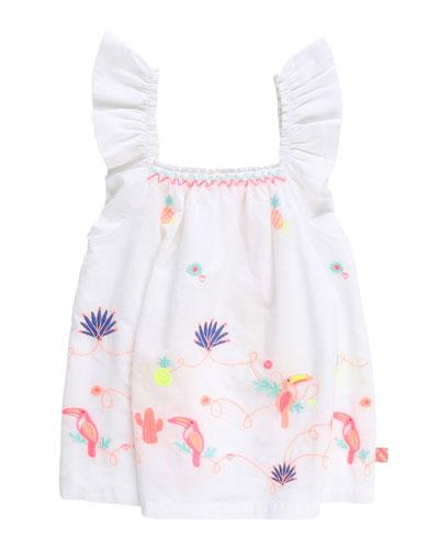 Girl's Ruffle-Strap Poplin Top w/ Multicolor Embroidery  Size 4-10