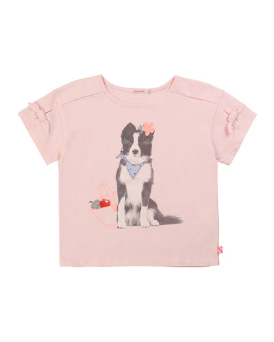Girl's Dog Graphic Short-Sleeve Tee w/ Bows  Size 4-10