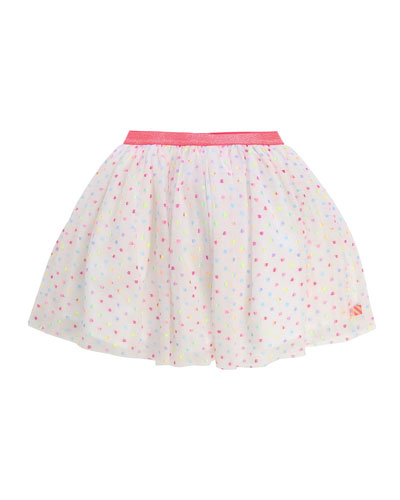 Girl's Multicolor Dotted Tulle Skirt w/ Clip  Size 4-10