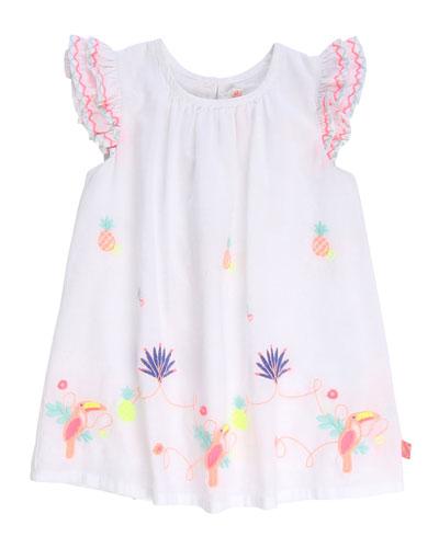 Girl's Multicolor Embroidered Poplin Dress  Size 12M-3
