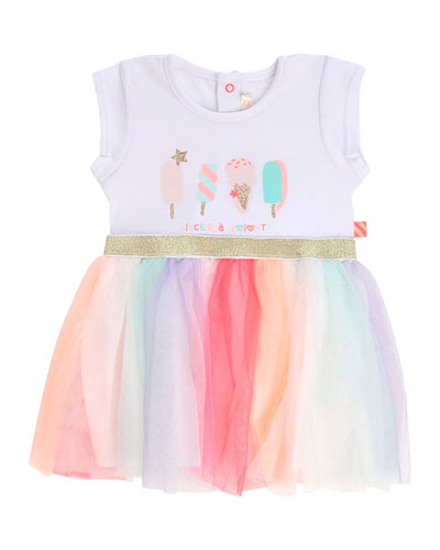 Girl's Ice Cream Print Jersey & Tulle Dress  Size 12M-3