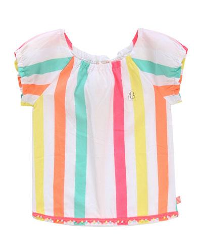 Girl's Multicolor Stripe Short-Sleeve Top  Size 4-10