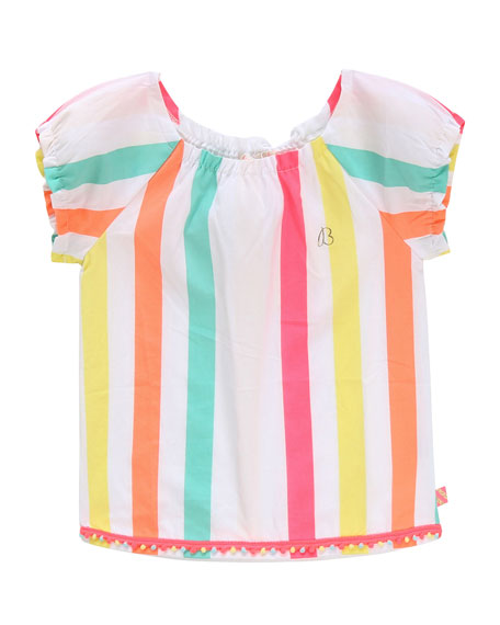 Girl's Multicolor Stripe Short-Sleeve Top, Size 4-10