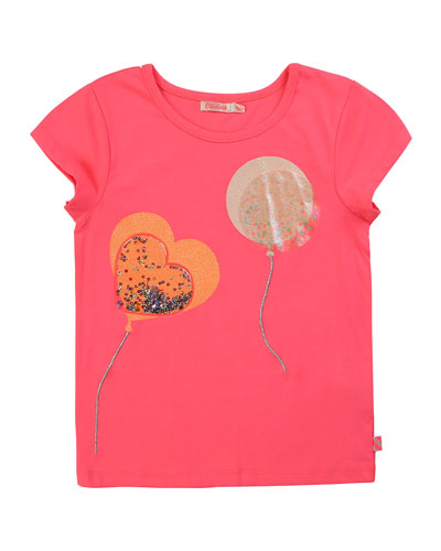 Girl's Balloon Patch T-Shirt w/ Moving Sequins  Size 4-10