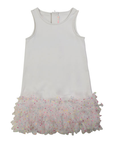 Girl's Sleeveless Milano Dress w/ Tulle Frill-Hem  Size 4-10