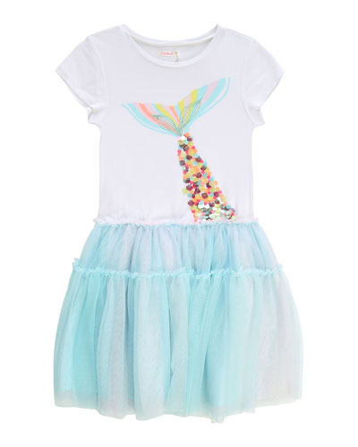Girl's Jersey Tulle Dress w/ Mermaid Tail Graphic  Size 4-10