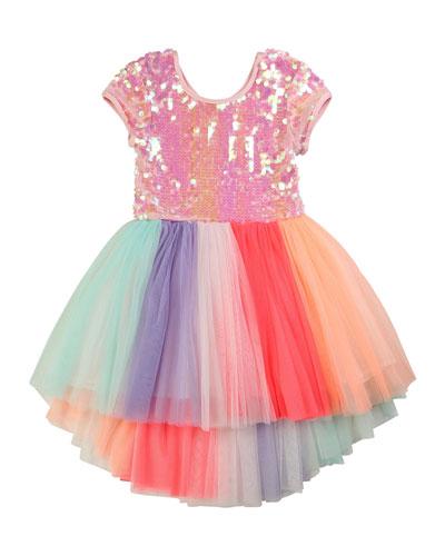 Girl's Sequin-Bodice Multicolored Tulle Dress  Size 4-10