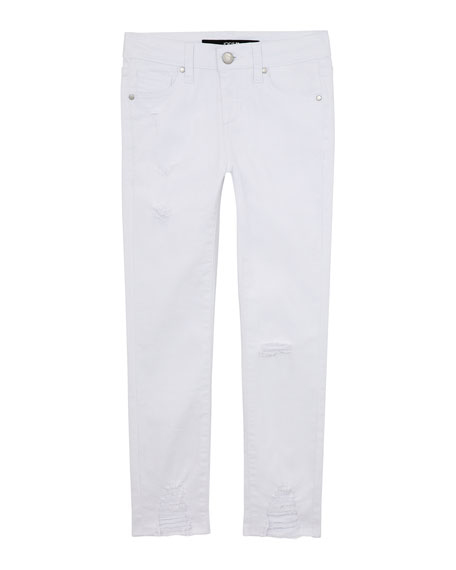 Image 1 of 1: Girl's Mid Rise Destroyed Hem Ankle Jeans, Size 7-16