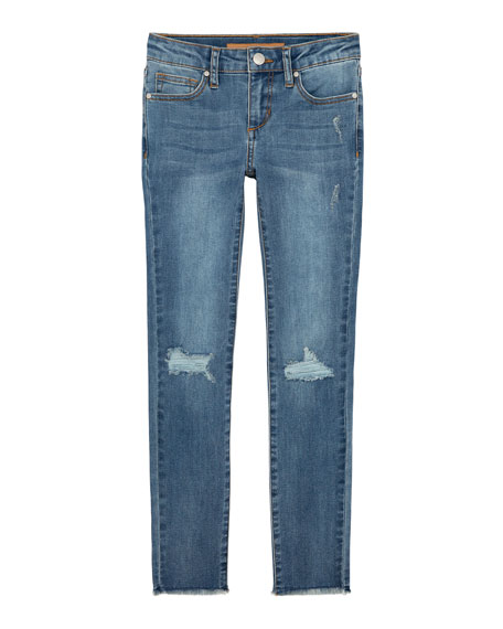 Image 1 of 1: Girl's Mid Rise Distressed Skinny Jeans, Size 7-16