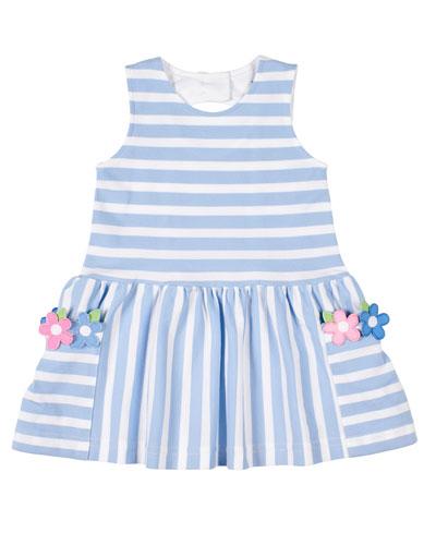 Girl's Stripe Pique Knit Dress w/ Flower Appliques  Size 2-6X