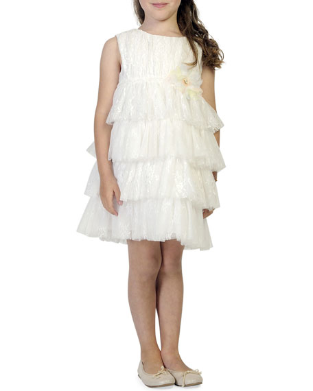 Girl's Tiered Lace & Tulle Sleeveless Dress, Size 4-5