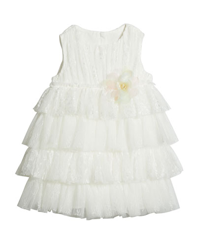 Girl's Tiered Lace & Tulle Sleeveless Dress  Size 4-5