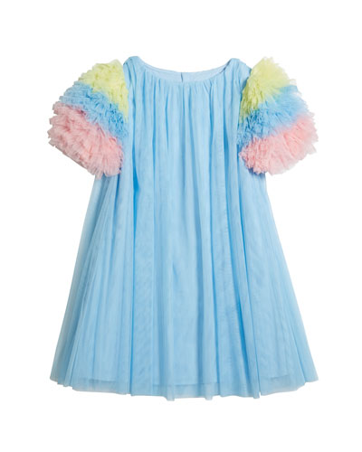 Girl's Multicolor Ruffle-Sleeve Tulle Dress  Size 4-5