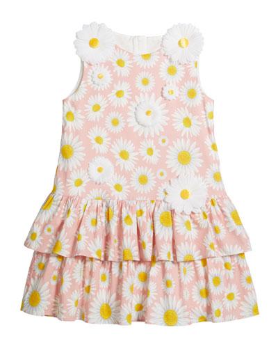 Girl's Daisy Print Knit Dress w/ 3D Daisies  Size 4-5