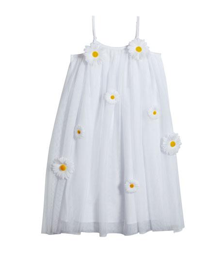 Girl's 3D Daisy Sleeveless Shift Dress, Size 6-12