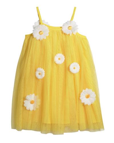 Girl's 3D Daisy Spaghetti-Strap Tulle Dress  Size 4-5