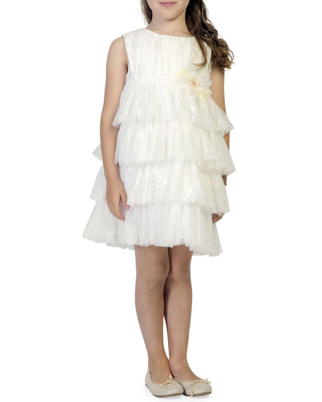 Girl's Tiered Lace & Tulle Sleeveless Dress, Size 6-12