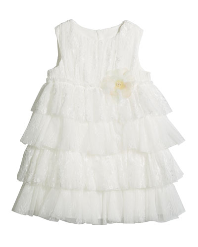 Girl's Tiered Lace & Tulle Sleeveless Dress  Size 6-12
