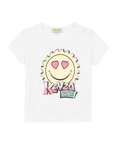 Girl's Multi-Iconic Smiley Face Graphic Tee  Size 2-3
