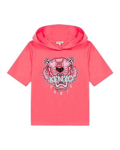 Girl's Tiger Short-Sleeve Hooded Sweatshirt  Size 8-12