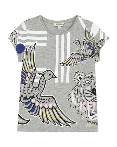Girl's Multi Icon Graphic T-Shirt  Size 8-12