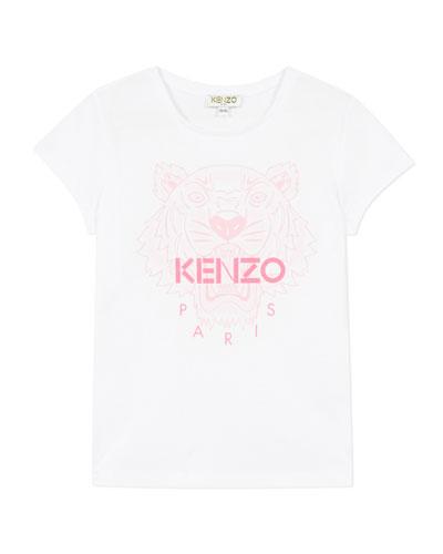 Girl's Tiger Logo Printed T-Shirt  Size 14