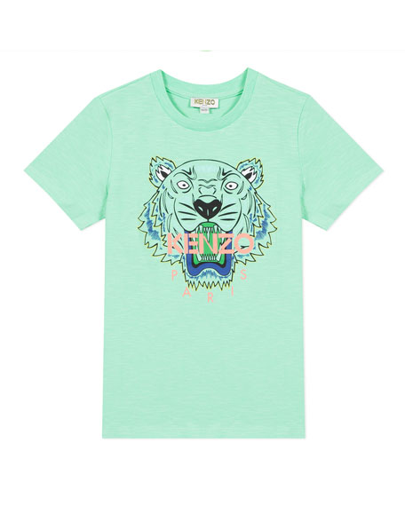 Boy's Tiger Logo Printed T-Shirt, Size 8-12