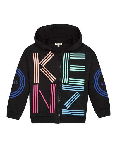 Girl's Multicolored Logo Print Hooded Fleece Jacket  Size 2-6