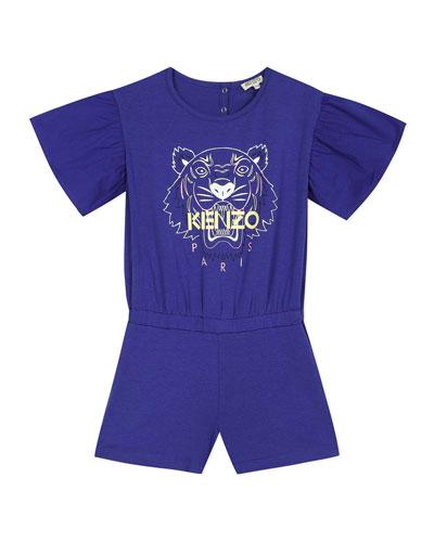 Girl's Tiger Logo Print Romper  Size 8-12