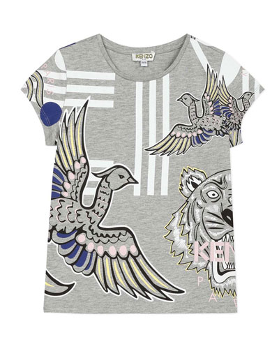 Girl's Multi Icons Graphic T-Shirt  Size 2-6