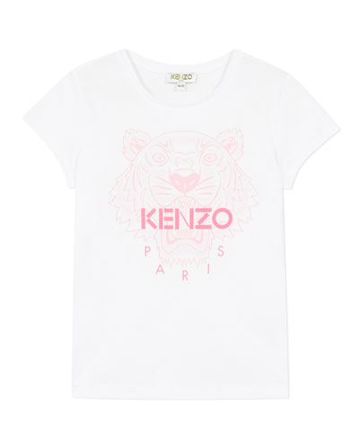 Girl's Tiger Logo Printed T-Shirt  Size 8-12
