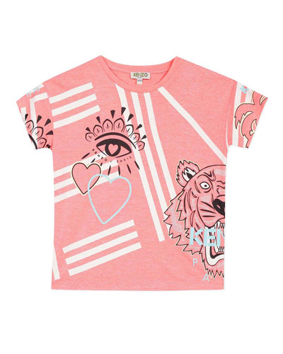 Girl's Multi Icon Graphic T-Shirt  Size 2-6