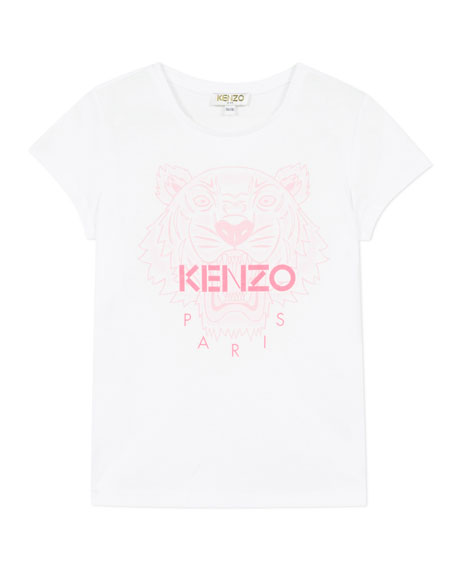 Image 1 of 1: Girl's Tiger Logo Printed T-Shirt, Size 2-6