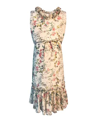Girl's Big Sister Printed Georgette Dress  Size 4-6