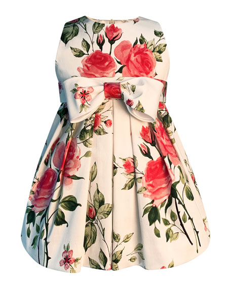 Girl's Baby Love Floral Print Bow Dress, Size 2-6