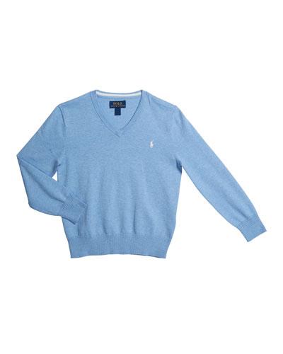 Pima Cotton V-Neck Sweater, Size 2-4