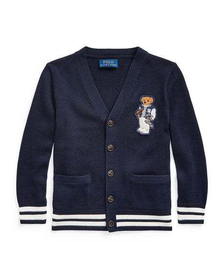 Image 1 of 1: Boy's Football Bear Patch Sweater Cardigan, Size 5-7