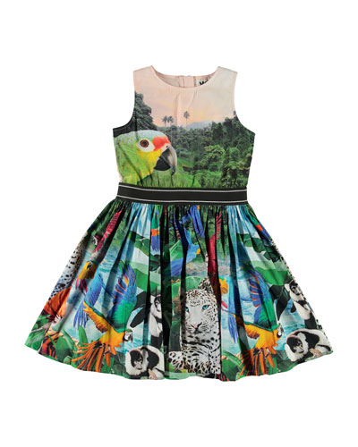 Girl's Carli Woven Jungle Animals Print Dress  Size 2-12