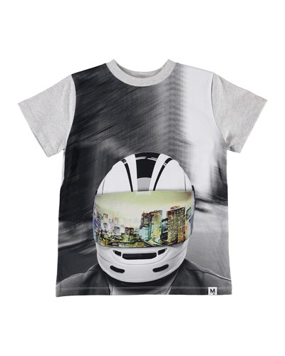 Kid's Road Biker Helmet City Reflection Graphic Tee  Size 4-12