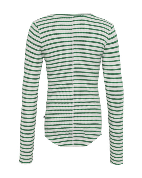 Girl's Rochelle Striped Long-Sleeve Rib Tee, Size 3T-16