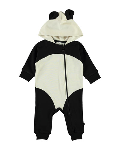Kid's Flossie Hooded Panda Coverall w/ Ears  Size 3-24 Months