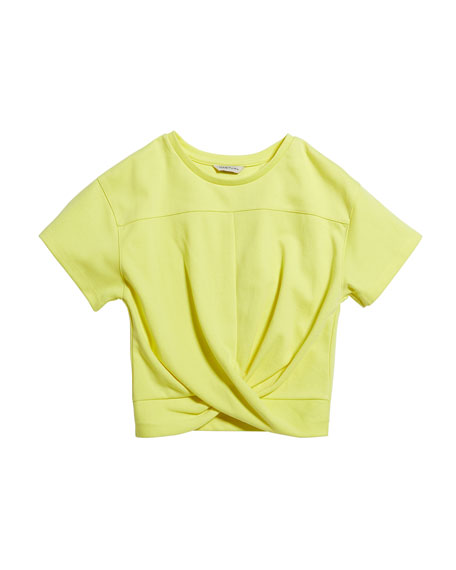 Girl's Twist Front Ponte Knit Top, Size 7-14