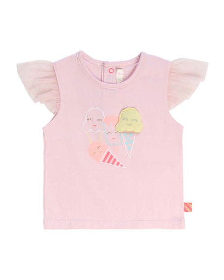 Image 1 of 1: Girl's Tulle-Sleeve Ice Cream Graphic T-Shirt, Size 2-3