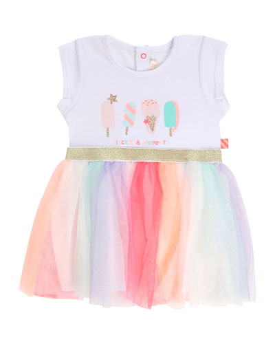 Girl's Ice Cream Print Jersey & Tulle Dress  Size 2-3