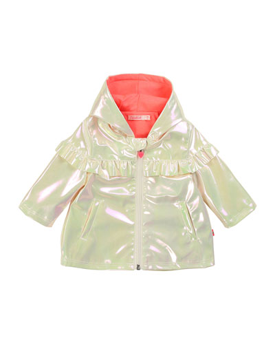 Girl's Iridescent Raincoat w/ Jersey Lining  Size 2-3