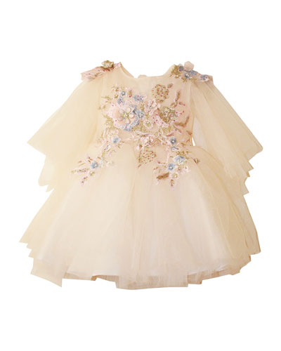 Girl's Embroidered Tulle Dress  Size 4-12